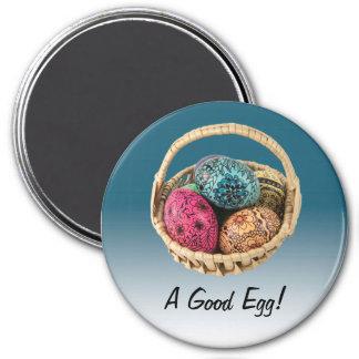 Decorated Egg Magnet on Blue