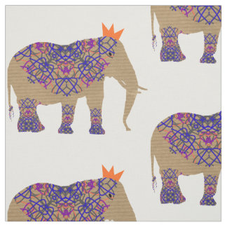 Decorated Elephant Cute Whimsy Fun Fabric