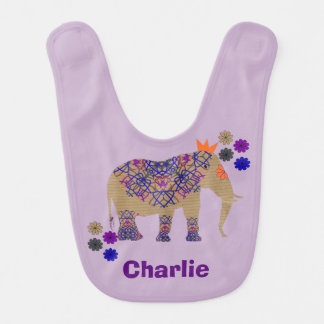 Decorated Elephant Cute Whimsy Fun Personalized Bib