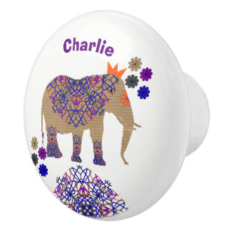 Decorated Elephant Cute Whimsy Fun Personalized Ceramic Knob