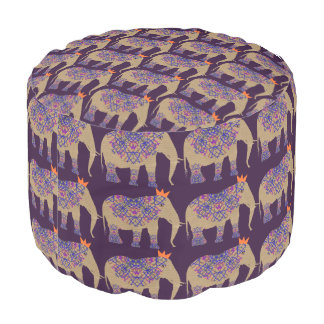 Decorated Elephant Cute Whimsy Pretty Patterned Pouf