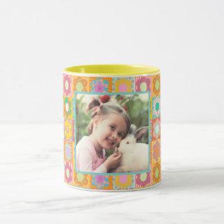 Decorated floral photo mug