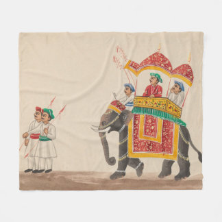Decorated Indian Elephant with a Canopied Howdah Fleece Blanket