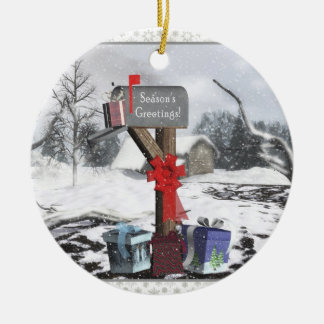 Decorated Mailbox Gifts Winter Scene Ornament