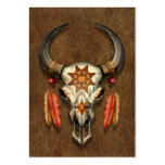 Decorated Native Bull Skull with Feathers Pack Of Chubby Business Cards
