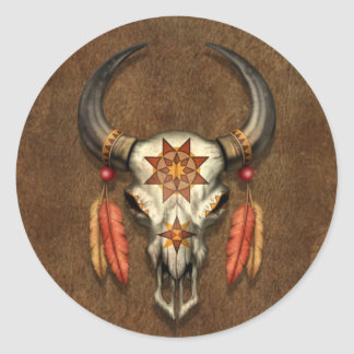 Decorated Native Bull Skull with Feathers Round Sticker