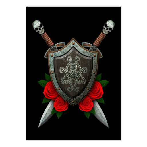 Decorated Octopus Shield and Swords with Roses Business Card