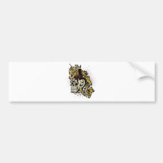 Decorated skull design bumper sticker