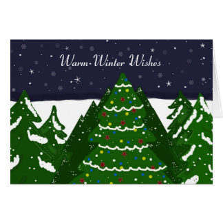 Decorated Tree Shining on a Winter Night Card