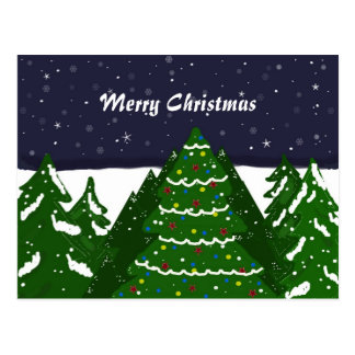 Decorated Tree Shining on a Winter NIght Postcard