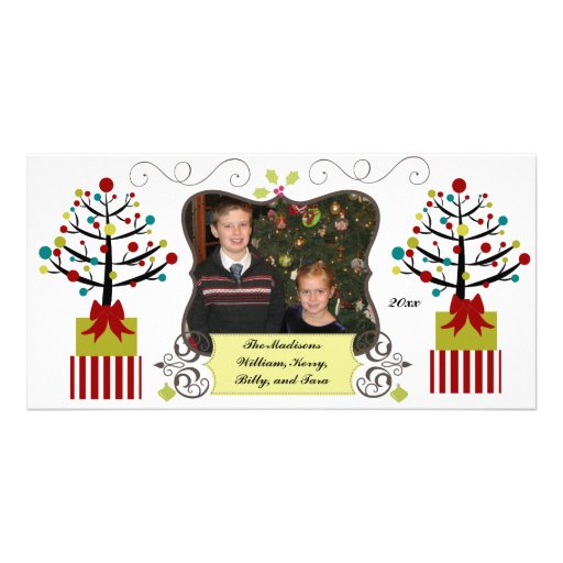 Decorated Trees Custom Holiday Photo Card