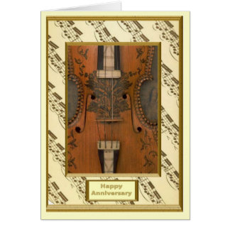 Decorated violin card