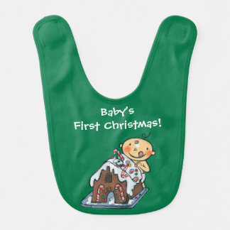 Decorating a Gingerbread House for Christmas Bib