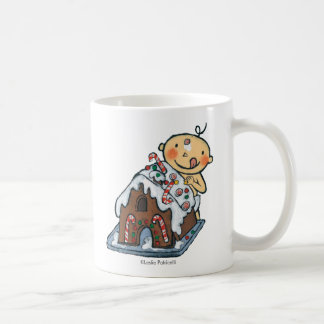 Decorating a Gingerbread House for Christmas Classic White Coffee Mug