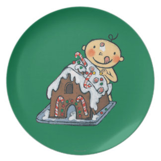 Decorating a Gingerbread House for Christmas Dinner Plate
