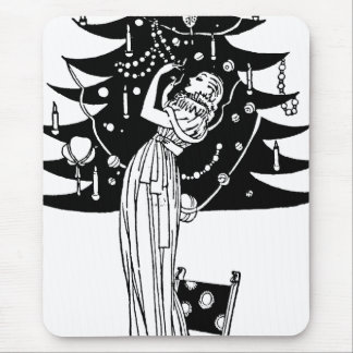 Decorating the Tree in Black and White Mouse Pad