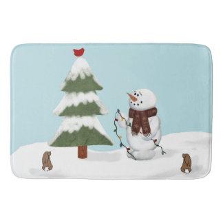 Decorating The Tree Snowman Bath Mat