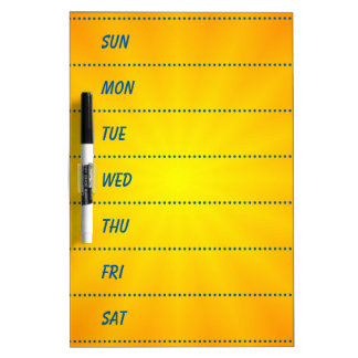 Decorative 7-Day Planner Dry Erase Board