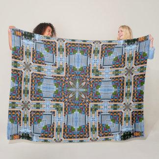 Decorative 8-Bit City Land Stained Glass Satin Fleece Blanket