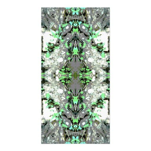 Decorative Abstract in Gray and Green. Personalized Photo Card