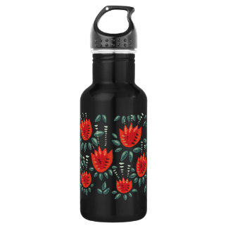 Decorative Abstract Red Tulip Dark Floral Pattern 532 Ml Water Bottle