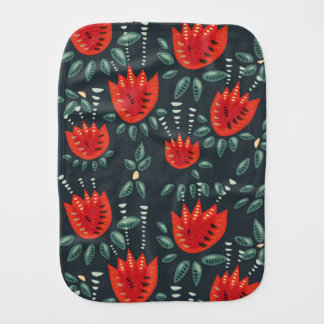 Decorative Abstract Red Tulip Dark Floral Pattern Burp Cloth