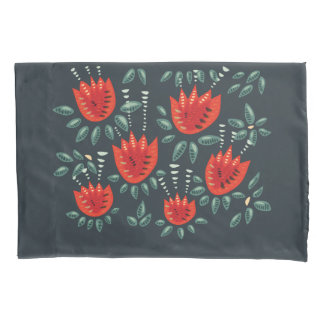Decorative Abstract Red Tulip Dark Floral Pattern Pillowcase