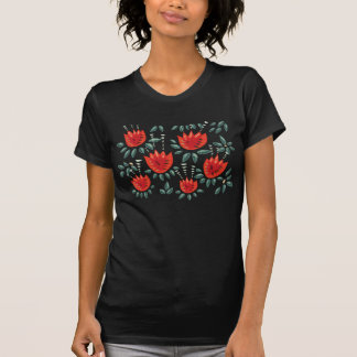 Decorative Abstract Red Tulip Dark Floral Pattern T-Shirt