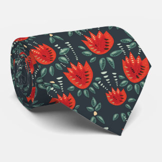 Decorative Abstract Red Tulip Dark Floral Pattern Tie
