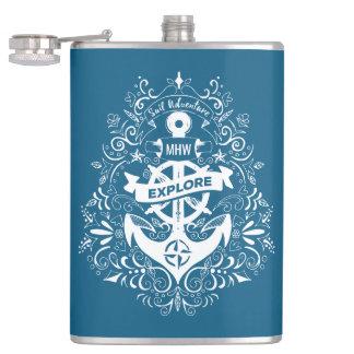 Decorative Anchor custom monogram flask