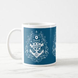 Decorative Anchor custom monogram mugs