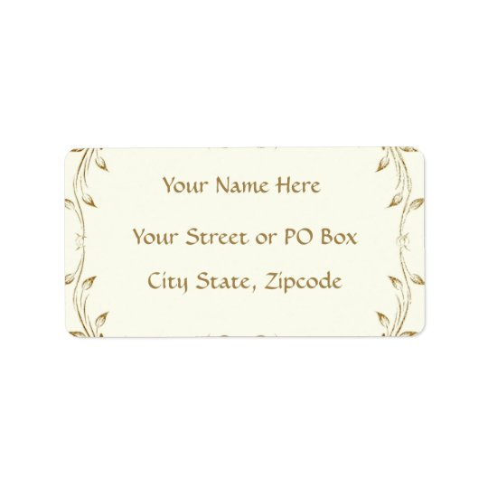 Decorative Antique Gold Border Wedding Address Label
