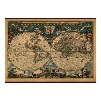Decorative Arty Old World Map Poster