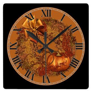 Decorative Autumn Pumpkin Wreath Square Wall Clock