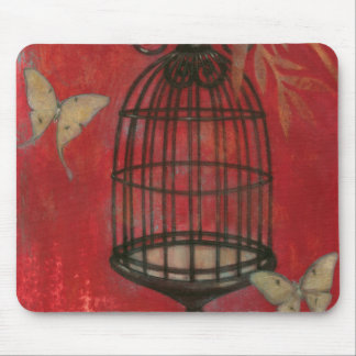 Decorative Birdcage with Butterflies Mouse Pad
