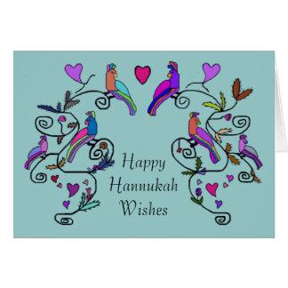 Decorative Birds Hannukah Card