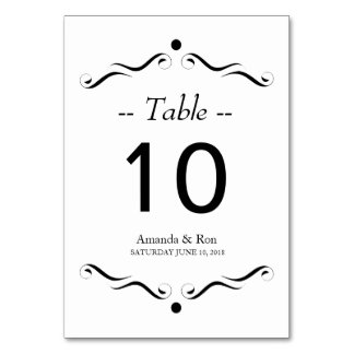 Decorative Black Accent Table Card Number