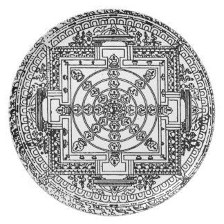 Decorative black and white plate with Mandala