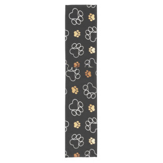 Decorative Black Animal paw print Short Table Runner