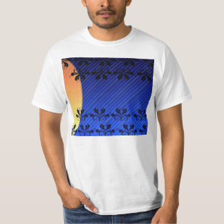 Decorative Black Damask and stripped pattern Tshirt