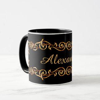Decorative Black/Golden Mug with your Name