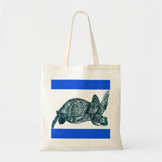Decorative Blue and White Turtle Tote Bag