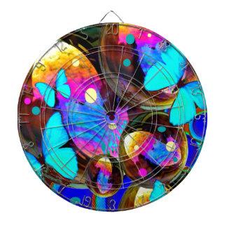 Decorative blue butterflies & iridescent bubbles dartboard