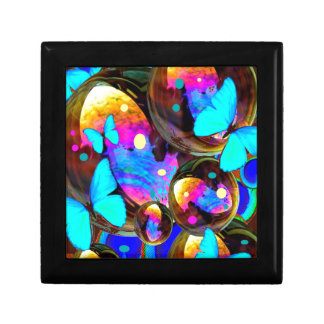 Decorative blue butterflies & iridescent bubbles gift box