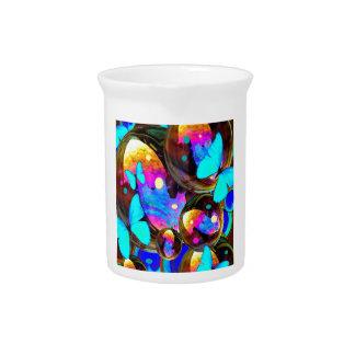 Decorative blue butterflies & iridescent bubbles pitcher