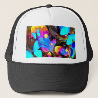 Decorative blue butterflies & iridescent bubbles trucker hat