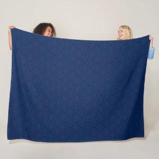 Decorative Blue Houndstooth Mandala Quilt Pattern Fleece Blanket