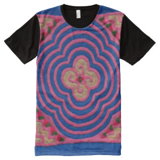 Decorative Blue & Pink Hmong Pattern Graphic Tee