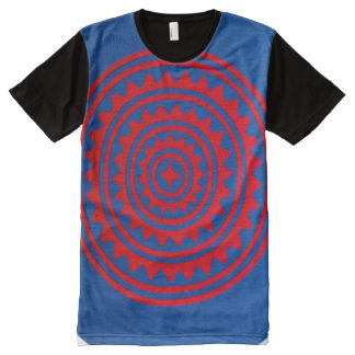 Decorative Blue & Red Hmong Pattern Graphic Tee