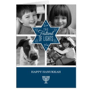 Decorative Blue Typography Star of David Hanukkah Card